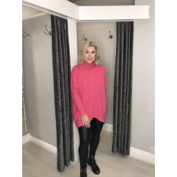 Lucy Cobb Josie Roll Neck jumper in Fuchsia