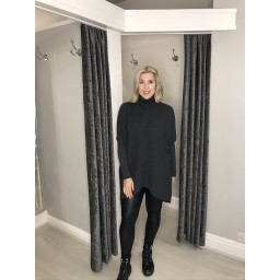 Lucy Cobb Josie Roll Neck jumper in Charcoal