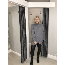 Lucy Cobb Josie Roll Neck jumper in Marl Grey