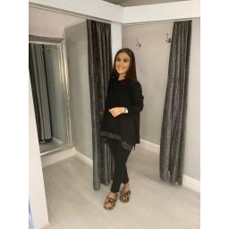 Lucy Cobb Sequin Edge Loungewear Set - Black