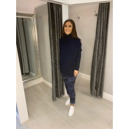 Lucy Cobb Katia Roll Neck Two Pocket Jumper in Navy