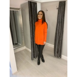 Lucy Cobb Katia Roll Neck Two Pocket Jumper in Orange