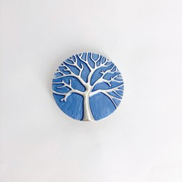 Lucy Cobb Jewellery Tree Of Life Strong Magnetic Brooch in Cornflower Blue