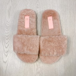 Lucy Cobb Shoes Codie Fluffy Slippers  - Baby Pink