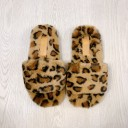 Codie Fluffy Slippers  - Leopard Print