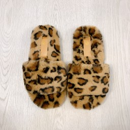 Lucy Cobb Footwear Codie Fluffy Slippers  in Leopard Print