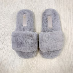 Lucy Cobb Shoes Codie Fluffy Slippers  - Silver Grey
