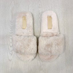 Lucy Cobb Shoes Codie Fluffy Slippers  - Stone