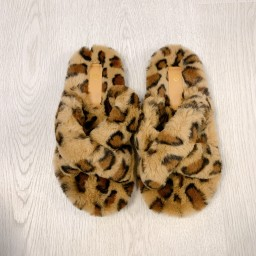 Lucy Cobb Shoes Colbie Crossover Slippers in Leopard Print