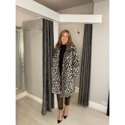 Lucy Cobb Fleur Faux Fur Leopard Coat - Blush Animal Print