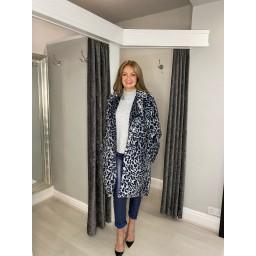 Lucy Cobb Fleur Faux Fur Leopard Coat - Silver Animal Print