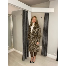 Lucy Cobb Leah Leopard Wool Coat - Brown Animal Print