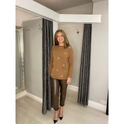 Lucy Cobb Skylar Spot Jumper in Camel