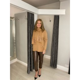 Lucy Cobb Joy Sparkle Scarf Jumper Set in Camel