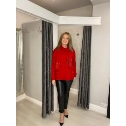 Lucy Cobb Joy Sparkle Scarf Jumper Set - Red
