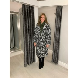 Lucy Cobb Leah Leopard Wool Coat in Black Animal Print