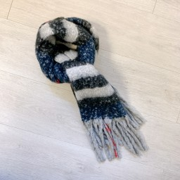 Lucy Cobb Accessories Super Soft Check Scarf in Navy