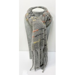 Lucy Cobb Accessories Callie Chunky Stripe Scarf - Silver Grey