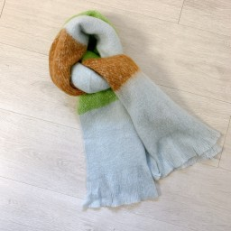 Lucy Cobb Accessories Chloe Colour Block Scarf - Lime Green