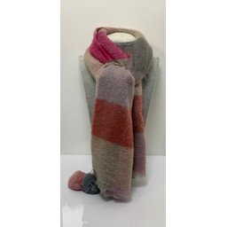 Lucy Cobb Accessories Pom Pom Check Scarf in Pink (431)