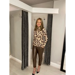 French Connection Animal Print Roll Neck Top - Mocha