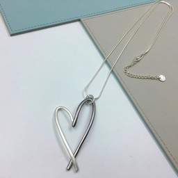 Lucy Cobb Jewellery Two Tone Heart Long Necklace - Silver Grey