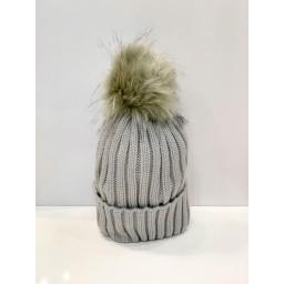 Lucy Cobb Accessories Faux Fur Bobble Hat - Silver Grey