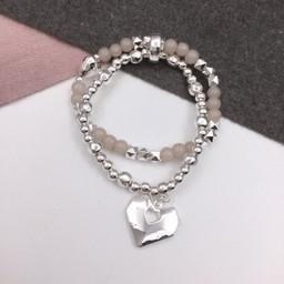 Lucy Cobb Jewellery Harper Heart Bracelet - Silver