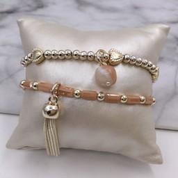 Lucy Cobb Jewellery Beaded Tassel Bracelet - Gold
