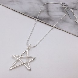 Lucy Cobb Jewellery Libra Star Short Necklace - Silver