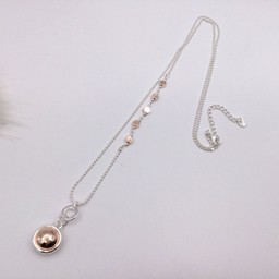 Lucy Cobb Jewellery Circle Charm Necklace  - Silver/Rose Gold
