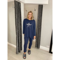 Lucy Cobb Sequin Star Loungewear set - Navy
