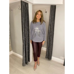 Lucy Cobb Remy Ribbed Sequin Star Jumper in Silver Grey
