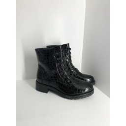 Lucy Cobb Shoes Croc Diamante Boots in Jet
