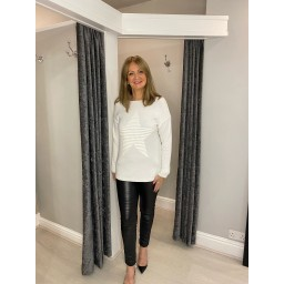 Lucy Cobb Rebecca Ribbed Star Jumper in Ivory