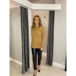 Lucy Cobb Rebecca Ribbed Star Jumper in Camel