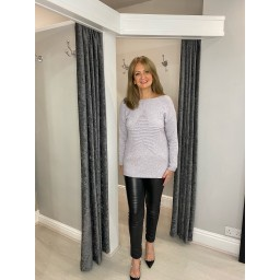 Lucy Cobb Rebecca Ribbed Star Jumper in Silver Grey