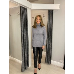 Lucy Cobb Katia Sparkle Cowl Neck in Silver Grey