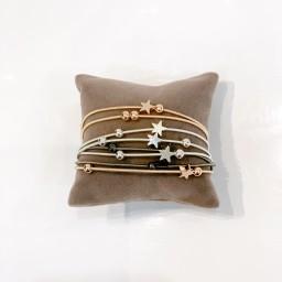 Lucy Cobb Jewellery Layered Star Bracelet - Silver/Rose Gold/Black