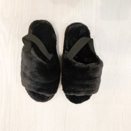 Lucy Cobb Shoes Huggy Faux Fur Slippers in Black