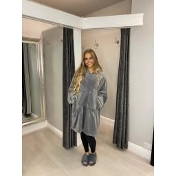 Lucy Cobb Snuggle Blanket Hoodie - Silver Grey