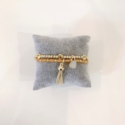 Lucy Cobb Jewellery Beaded Tassel Bracelet - Gold