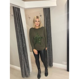 Lucy Cobb Remy Ribbed Sequin Star Jumper in Khaki