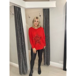 Lucy Cobb Remy Ribbed Sequin Star Jumper - Red