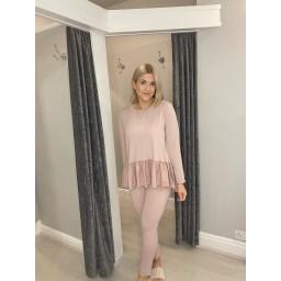 Lucy Cobb Ruffle Hem Loungewear Set - Baby Pink