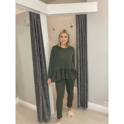 Lucy Cobb Ruffle Hem Loungewear Set - Khaki