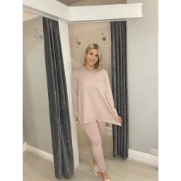 Lucy Cobb Sequin Edge Loungewear Set in Baby Pink