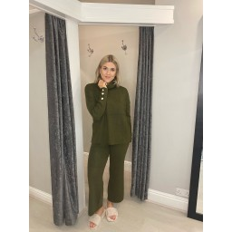 Lucy Cobb Kori Knitted Wide Leg Loungewear Set - Khaki