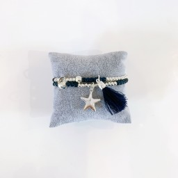 Lucy Cobb Jewellery Brianna Beaded Tassel Bracelet  in Silver Black