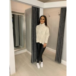 Lucy Cobb Claudia Cable Knit Jumper in Stone